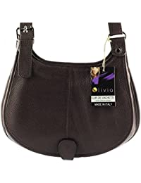 Olivia - Sac bandoulière Cuir marron chocolat PRATO N1017 Sac à main
