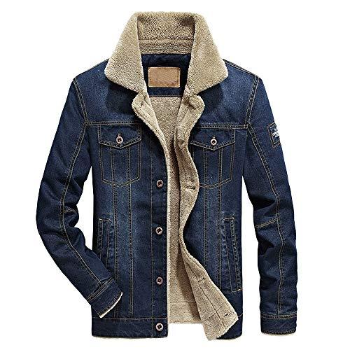 Herren Denim Coat Herbst Winter Pocket Button Flick Revers Top Warm Dicke LuxuriöS Cotton Bomber Taktische Jacke MäNtel MilitäR Parka...