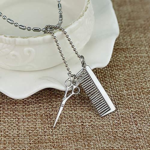 FHIKLW Halsketten,Silber Haartrockner Schere Kamm Hängen Halskette Mode Kette Anhänger Halskette Kettenlänge 20 (Hängen Haartrockner)