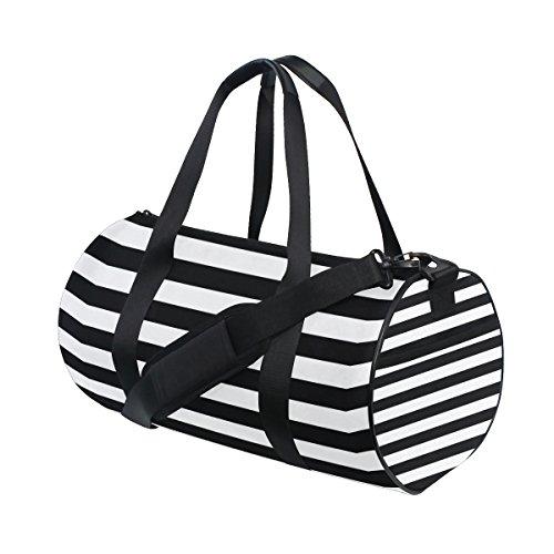 ISAOA Turnbeutel schwarz und weiß Farbe sports Duffel Tasche für Damen und Herren