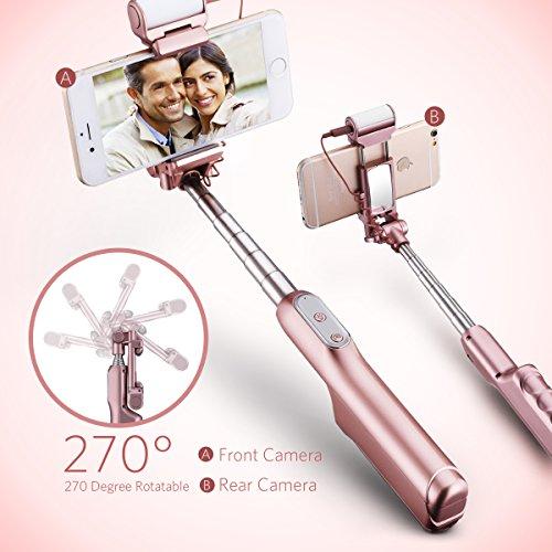 Mpow® Bluetooth-Selfie-Stick mit integrierter Fernbedienung, LED-Aufhellungslicht und Spiegel, um 270Grad verstellbar, ideal für iPhone 7/6S / 6 / 6 plus, HTC, LG G5, Moto X/G und die meisten Mobiltelefone - 2