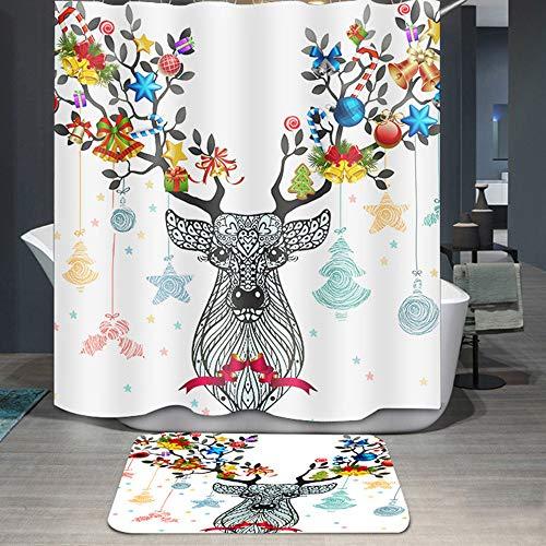 CHENU 3D Badezimmer Duschvorhang Anti-Schimmel Wasserabweisend Duschvorhangringen Cartoon Rentier Muster(A),B-80x200