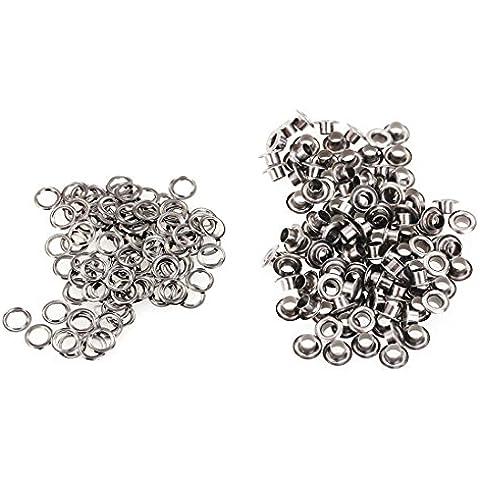 100pcs latón de la vendimia del metal Ojal Ojal para el arte de cuero de 4 mm de plata del tono de