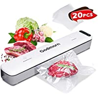 Godmorn Vacuum Sealer Machine Food Foodsaver, 20Pcs Bags, Dry/Wet Moist, One-Touch Automatic Hands-free, Doubel-Mode Vacuum Packing Machine with 20Pcs BPA-Free Seal Bags and Vacuum Canister Hose