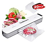 Godmorn Vacuum Sealer Machine Food Foodsaver, 20Pcs Bags, Dry/Wet Moist, One-Touch Automatic Hands-free