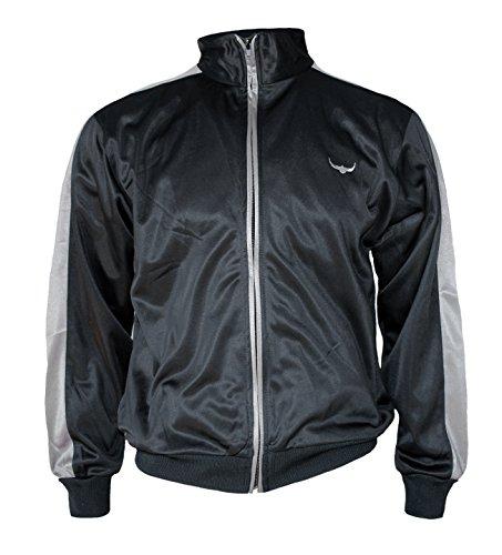 ROCK-IT Herren Track Jacket - stylische und hochwertige retro Style Trainingsjacke - Tracktop - Sweater Jacke - in den Farben Rot Weiß Grün Braun Schwarz Grau Blau - Größen S-XXXL Schwarz