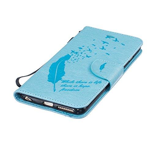 Voguecase® für Apple iPhone 6/6S 4.7 hülle,(Feder/Grau) Kunstleder Tasche PU Schutzhülle Tasche Leder Brieftasche Hülle Case Cover + Gratis Universal Eingabestift Feder/Hellblau