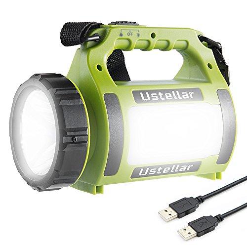Ustellar Wiederaufladbare CREE LED Handscheinwerfer , Wasserdicht Suchscheinwerfer Dimmbar 3 Lichtmodi 2 Helligkeitsstufen Handlampe Akkulampe Powerbank USB-Kabel inkl. Arbeitsleuchte für Camping (Wiederaufladbare Scheinwerfer Taschenlampe)