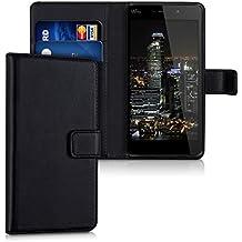 """kwmobile Funda para Wiko Pulp FAB 4G (5.5"""") - Wallet Case plegable de cuero sintético - Cover con tapa tarjetero y soporte en negro"""