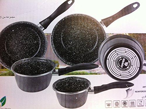 VITRINOR - Lot de 5 casseroles émail NOIR induction interieur facon pierre - garantie 1 an