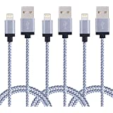 Duractron 3Pack 2M Nylon iPhone Ladekabel Lightning USB Kabel für Apple iPhone 6 Plus/6 /5/5S/6s iPad 4 iPad Mini/Air iPod 5/ iPod7 (WEIß)