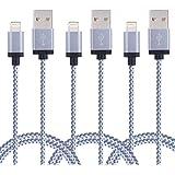Duractron Câble Lightning vers USB (2M / Lot de 3) Data Chargeur en Nylon avec connecteur en aluminium compatible avec smartphone Apple iPhone 7/7 Plus/SE/6/6 Plus/6s/6s Plus/5/5s/5c, iPad Pro/Air/Mini/4e(Gris)