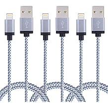 Duractron 3Pack 2M Nylon iPhone Ladekabel Lightning USB Kabel für Apple iPhone 6 Plus/6 /5/5S/6s iPad 4 iPad Mini/Air iPod 5/ iPod7 (WEIß)