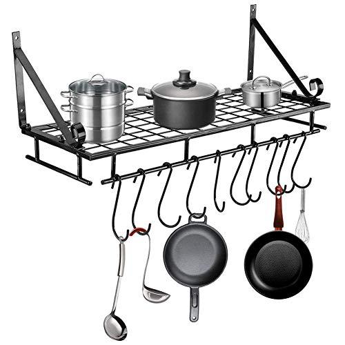 GOTOTOP Scaffale da Cucina Porta Utensili Mensola,Porta Pentole da Cucina Storage Rack Kitchen Ultensil Pot Holder da Muro con 10 Ganci a S,60 * 24 * 18 * 5cm