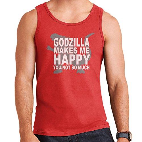 Godzilla Makes Me Happy Men's Vest Red