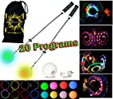 Flames N Games Pro Glow Poi - Multi-Funktions LED Poi Set + Stoff Reisetasche! Nachtleuchtender Poi inkl. Batterien. Langsam Leuchtpoi Luminous Pois Led.