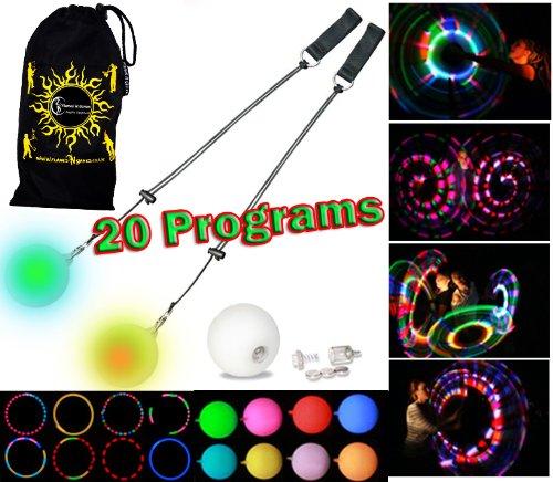 Preisvergleich Produktbild Flames N Games Pro Glow Poi - Multi-Funktions LED Poi Set + Stoff Reisetasche! Nachtleuchtender Poi inkl. Batterien. Langsam Leuchtpoi Luminous Pois Led.