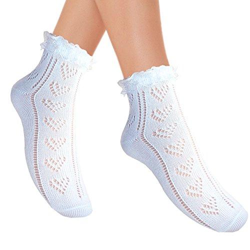 JHosiery Damen Pointelle Söckchen mit Spitze Rüschen Herzmuster (39-42, 2 Paar Weiß) - Weiße Baumwolle Mit Pointelle