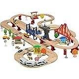 WERTY MEI Spielzeuge für Kinder Spielzeug aus Holz Spielzeuge für Eisenbahnwagen Bauwagen für Eisenbahnwagen Gleiskettenwagen-Bausätze Geburtstagsgeschenke für Kinder