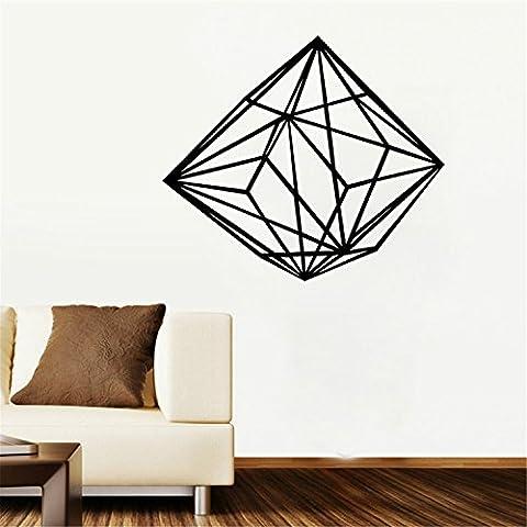 yanqiao Geometrische Persönlichkeit Creative Line Diamant Wand Aufkleber 3D Vinyl Aufkleber handgefertigt Art Custom Zuhause Dekorieren Größe 64,5x 55,4cm Gold schwarz