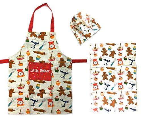 Kinder Kochset / Backoutfit, der kleine Chefkoch mit Schürze, Kochmütze und Küchentuch, Weiß mit (Mann Lebkuchen Outfit)