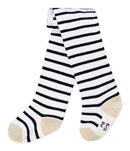 Petit Bateau COLLANTS Collants Bébé fille Blanc (Marshmallow/Smoking 01) 0-3 mois (Taille fabricant: P15 POINTURE 15/18 (NAI/3MOIS))