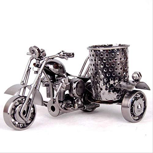 ESFSAF-Portapenne di lusso Artigianato in metallo per ufficio Ornamenti creativi Moda modello di moto Portapenne Office StoreageGun nero