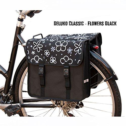 Damen Doppel-Fahrradtasche Blumen Schwarz