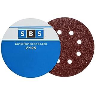 SBS Schleifscheiben Klett-Schleifpapier Ø 125 mm 60 Stück Körnung je 10 x 40/60/80/120/180/240 Exzenter-Schleifer 8 Loch