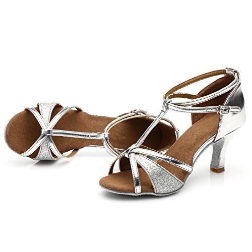 VESI - Damen Hoher Absatz Tanzschuhe Standard/Latein Silber 38(Absatz 5cm) - 4