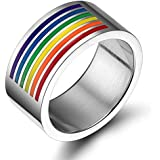 Vnox Schmuck Homosexuell & Lesbisch LGBT Stolz Edelstahl Regenbogen Emaille Ringe,10mm breit
