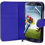 Blau Supergets Hülle für das Samsung Galaxy S4 I9500 Buchstil Klapptasche in Lederoptik Etui Flip Case, Folie, Reinigungstuch, Mini Eingabestift