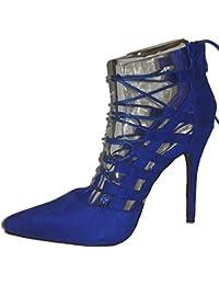 3-W-Hohenlimburg Elegante Hohe Stiletto Pumps High Heels Sandalen. Blau,  Orange - Gold, Pink, Schwarz, Weiß Oder… f952c186de