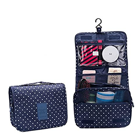 HOYOFO Portable Waterproof Travel Toiletry Bag Sorting Folding Wash Bag With Hanging Hook,Dark Blue Dots