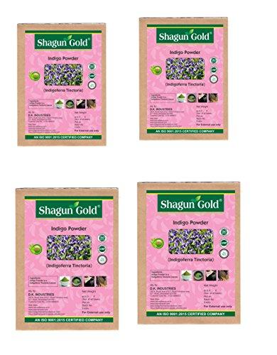 Shagun Gold Hair coloring 100% Pure Natural Indigo Powder 100g x 4, Pack Of 4