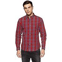John Players Men's Solid Slim Fit Cotton Casual Shirt (JCMWSHA170041005_English Rose_44)