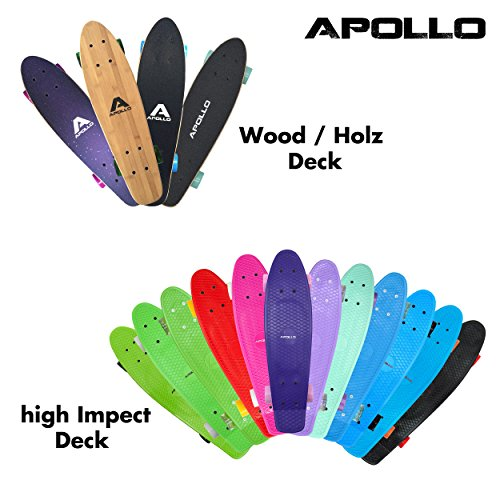 Fancy Board Apollo - Tavola cruiser completa vintage | Dimensioni: 22.5'' (57,15 cm) | Skateboard piccolo e maneggevole| Colore: vari colori