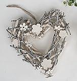 Formano Herz Kranz Holz natur braun creme 565747 Dekoration Geschenkidee zum Hängen oder Legen Frühjahr Sommer B