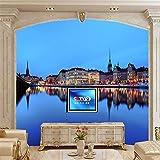 Liwenjun Wallpaper Coast House Nacht schwedische Stadt tapete, hotelzimmer Restaurant bar Wohnzimmer Sofa TV Wand Schlafzimmer 3D Mural