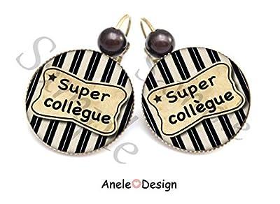 Boucles d'oreille Super Collègue pot de départ étoile cadeau - noir blanc original vintage idée cadeau