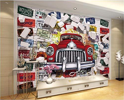 BXZGDJY 3D Fototapete [Selbstklebend] Wand Hintergrund Fototapete 3D-Tapete Oldtimer-Nummernschild Foto Dekorative Malerei Fototapete 3D-Tapete Wohnzimmer (B) 400X (H) 280 Cm | 8 Streifen