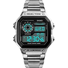 Skmei Top Marca Lujo relojes hombres digital acero inoxidable plateado 50 M Resistente Al Agua Cronómetro