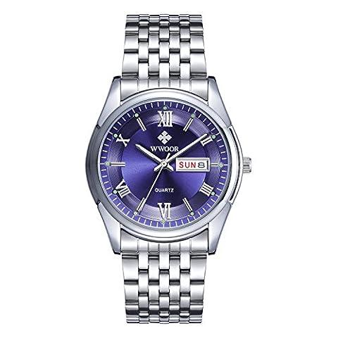 Men's Luxury Top Brand Watch Date Day Stainless Steel Luminous Hour Clock Men Casual Dress Quartz Watch Sport