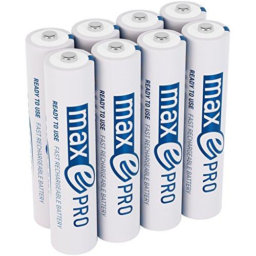 ANSMANN Micro Akku AAA 1,2V min. 750mAh inkl. Akkubox - NiMH AAA Akkus über 2100-mal wiederaufladbar - wiederaufladbare Batterien AAA maxE PRO für geringere Selbstentladung - Akku Batterien 8 Stück
