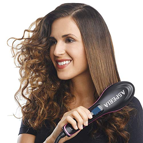 ASPERIA Hair Electric Comb Brush 3 in 1 Ceramic Fast Hair Straightener For Women's Hair Straightening Brush with LCD Screen, Temperature Control Display,Hair Straightener For Women (.Black)