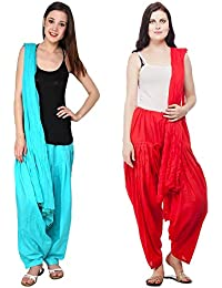 Fashion Store Women Cotton Patiala Salwar With Dupatta Combo Of 2(Free Size,Red & Sky)