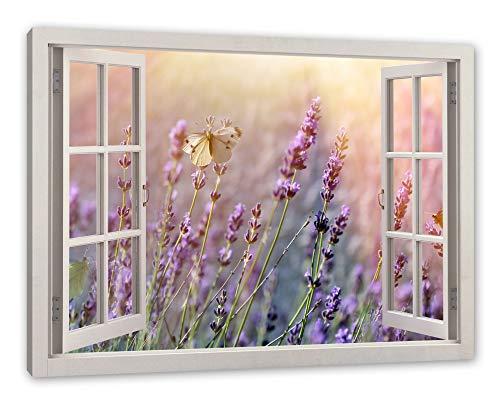 Pixxprint Schmetterlinge auf Lavendelblumen, Fenster Leinwandbild |Größe: 100x70 cm | Wandbild | Kunstdruck -