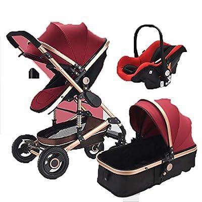 Cochecito Urbano 3 En 1, Diseño Compacto, Sistema Plegable, para Bebes De 0 Meses hasta 4 Años,Red