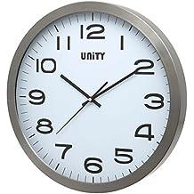 UNITY Manhattan Wanduhr, 40 Cm, Extra Groß, Metall, Silber, 40 X