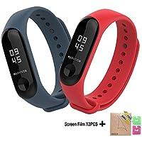 BDIG - Correas de Repuesto para Reloj, Colorido suave silicona pulsera impermeable, Diseño de la Mejor para Pulsera Xiaomi Mi Band 3, Marrón, Large Strap Length (2PCS)